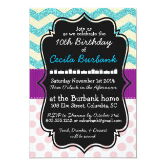 Sparkles & Polka Dots Birthday Invitation
