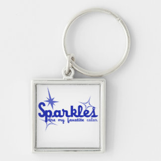 Sparkles Silver-Colored Square Key Ring