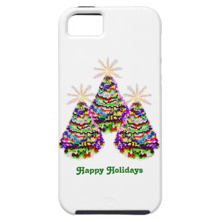 Sparkling Abstract Christmas Trees Design Tough iPhone 5 Case