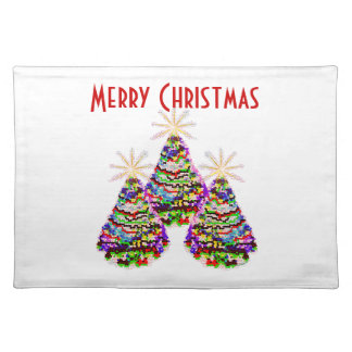 Sparkling Abstract Christmas Trees Design Placemats