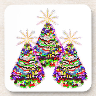 Sparkling Abstract Christmas Trees Design Drink Coasters