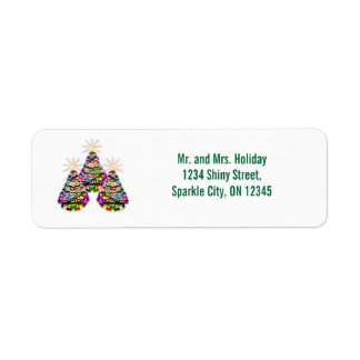 Sparkling Abstract Christmas Trees Design Return Address Label