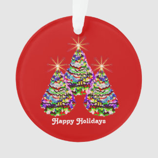 Sparkling Abstract Christmas Trees Design on Red