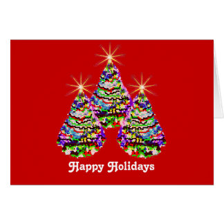Sparkling Abstract Christmas Trees Design on Red Greeting Card