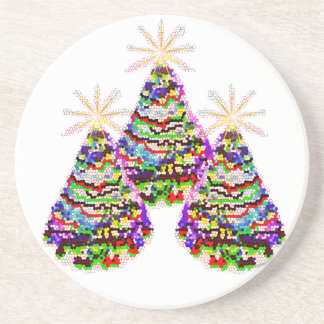 Sparkling Abstract Christmas Trees Design Sandstone Coaster