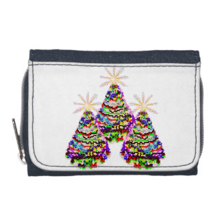 Sparkling Abstract Christmas Trees Design Wallet