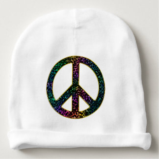 Sparkling Awesome Rainbow Leopard Peace Sign Baby Beanie
