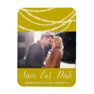Sparkling Beads Modern Save The Date Photo Magnet