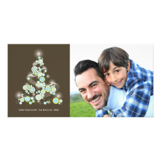 Sparkling Blue Christmas Tree Holiday Photo Card