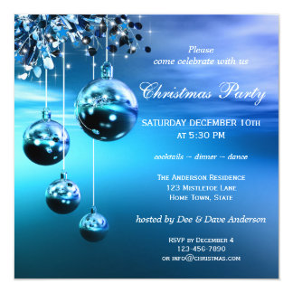 Sparkling Blue Modern Christmas Party Invitation