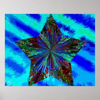 Sparkling Blue Star Poster