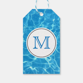 Sparkling Blue Swimming Pool Blue Water Monogram Gift Tags