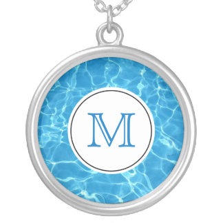 Sparkling Blue Swimming Pool Blue Water Monogram Silver Plated Necklace