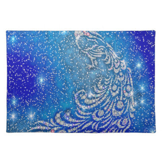 Sparkling Blue & White Peacock Placemat