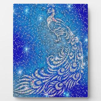 Sparkling Blue & White Peacock Plaque