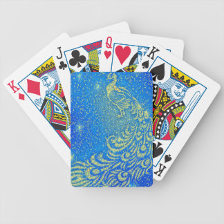 Sparkling Blue & Yellow Peacock Bicycle Playing Cards