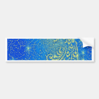 Sparkling Blue & Yellow Peacock Bumper Sticker