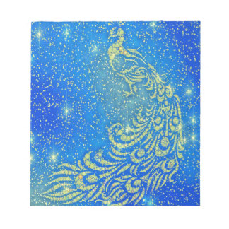 Sparkling Blue & Yellow Peacock Notepad