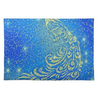 Sparkling Blue & Yellow Peacock Placemat
