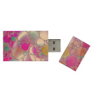 sparkling bubbles pink wood USB 2.0 flash drive