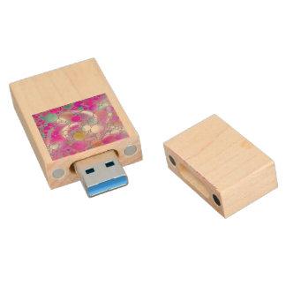 sparkling bubbles pink wood USB 3.0 flash drive