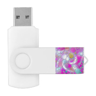 sparkling bubbles pink swivel USB 2.0 flash drive