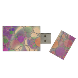 sparkling bubbles purple wood USB 2.0 flash drive
