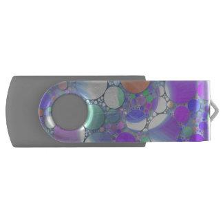 sparkling bubbles purple swivel USB 2.0 flash drive