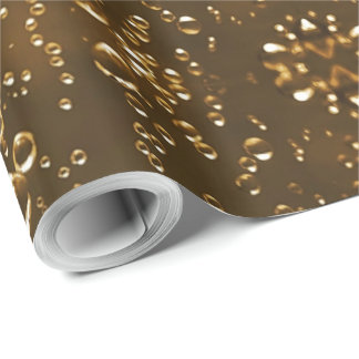 Sparkling Bubbles Water Drops Festive Brown Wrapping Paper