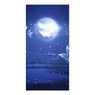 Sparkling Butterflies Luna moths fly by moon light Customized Photo Card