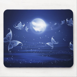 Sparkling Butterflies Luna moths fly by moon light Mouse Pad