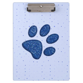 sparkling cat paw print - blue clipboard