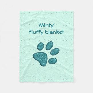 sparkling cat paw print - mint fleece blanket