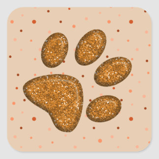 sparkling cat paw print - orange square sticker