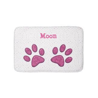 sparkling cat paw print - pink bath mat