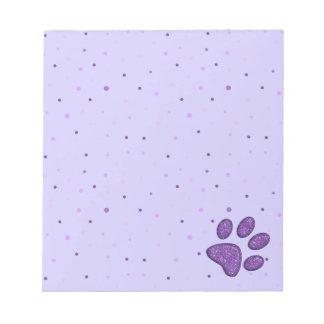 sparkling cat paw print - purple notepad