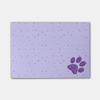sparkling cat paw print - purple post-it notes