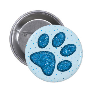 sparkling cat paw print - sky 6 cm round badge