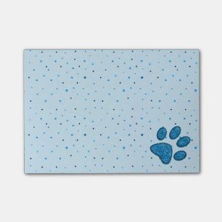 sparkling cat paw print - sky post-it notes