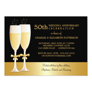 Sparkling Champagne 50th Wedding Anniversary Party 13 Cm X 18 Cm Invitation Card