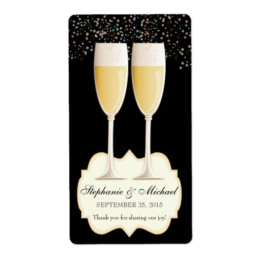 Sparkling Champagne Wedding Favour Wine Labels