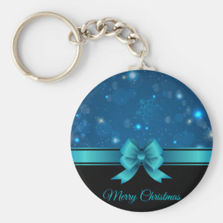Sparkling Christmas blue design with ribbon Keychain
