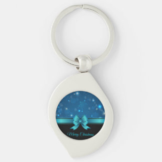 Sparkling Christmas blue design with ribbon Key Chains