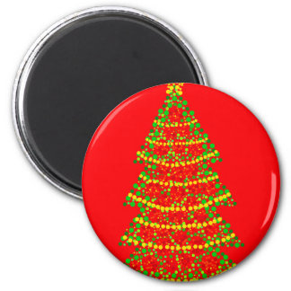 Sparkling Christmas tree - red 6 Cm Round Magnet