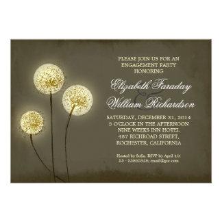 sparkling dandelions engagement party invitations