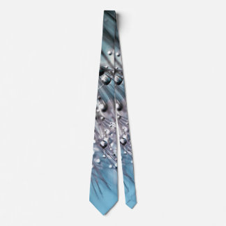 Sparkling Dew Dandelion Sky Blue Background Tie