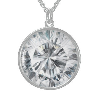 Sparkling Diamond texture April Birthstone Sterling Silver Necklace