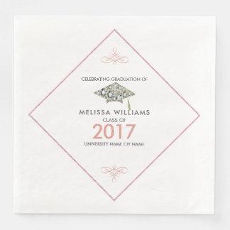 Sparkling Diamonds 2017 Graduation Hat Disposable Napkin