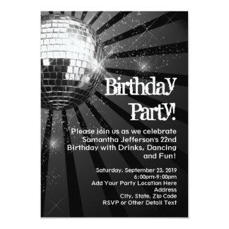 Sparkling Disco Ball Birthday Party Invitations