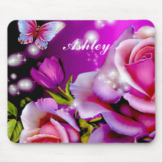 SPARKLING FLORAL MOUSE PAD WITH YOUR NAME
